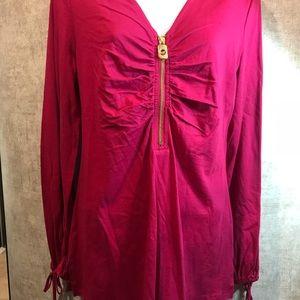 MICHAEL KORS Raspberry long sleeve top Sz Medium